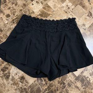 Pants - Black Flowy Shorts